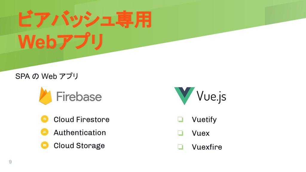 ビアバッシュ専用 Webアプリ SPA の Web アプリ 9 ❏ Vuetify ❏ Vue...