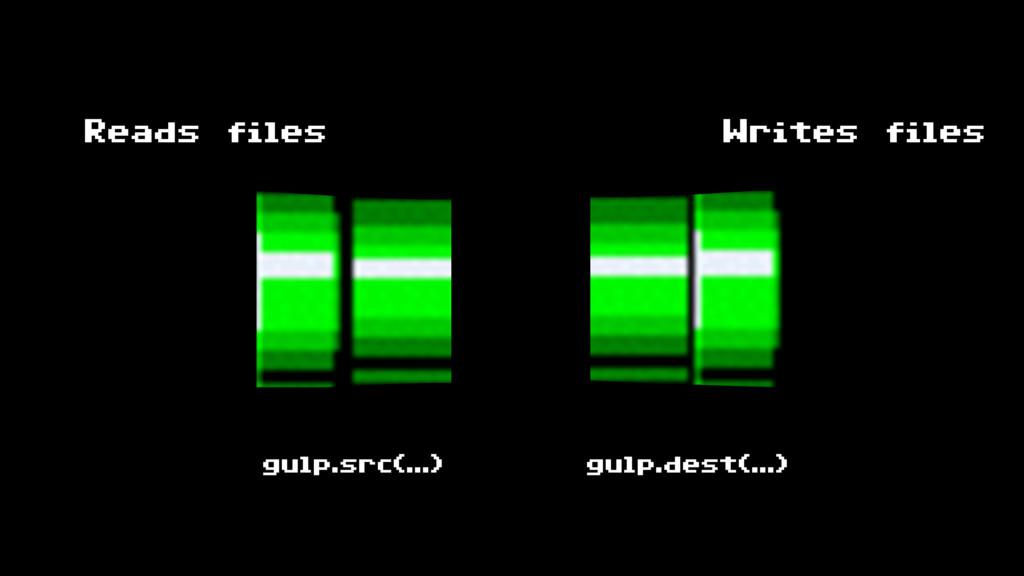 gulp.src(…) gulp.dest(…) Reads files Writes fil...