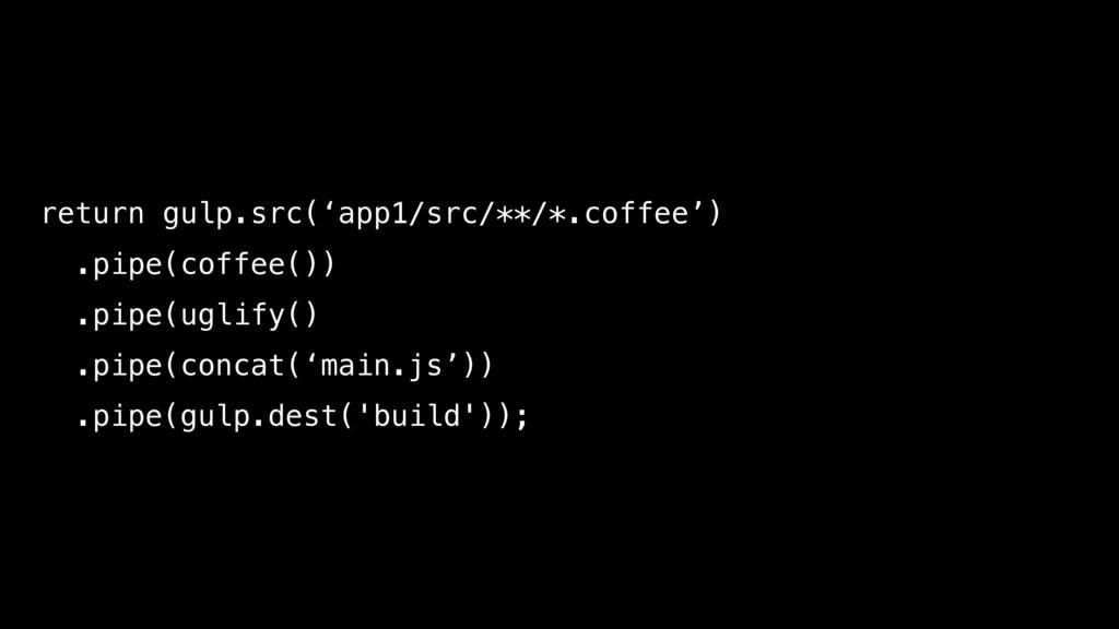 return gulp.src('app1/src/**/*.coffee') .pipe(c...