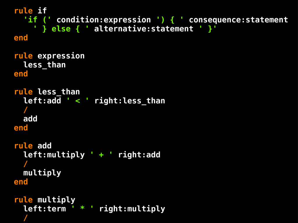 rule if 'if (' condition:expression ') { ' cons...