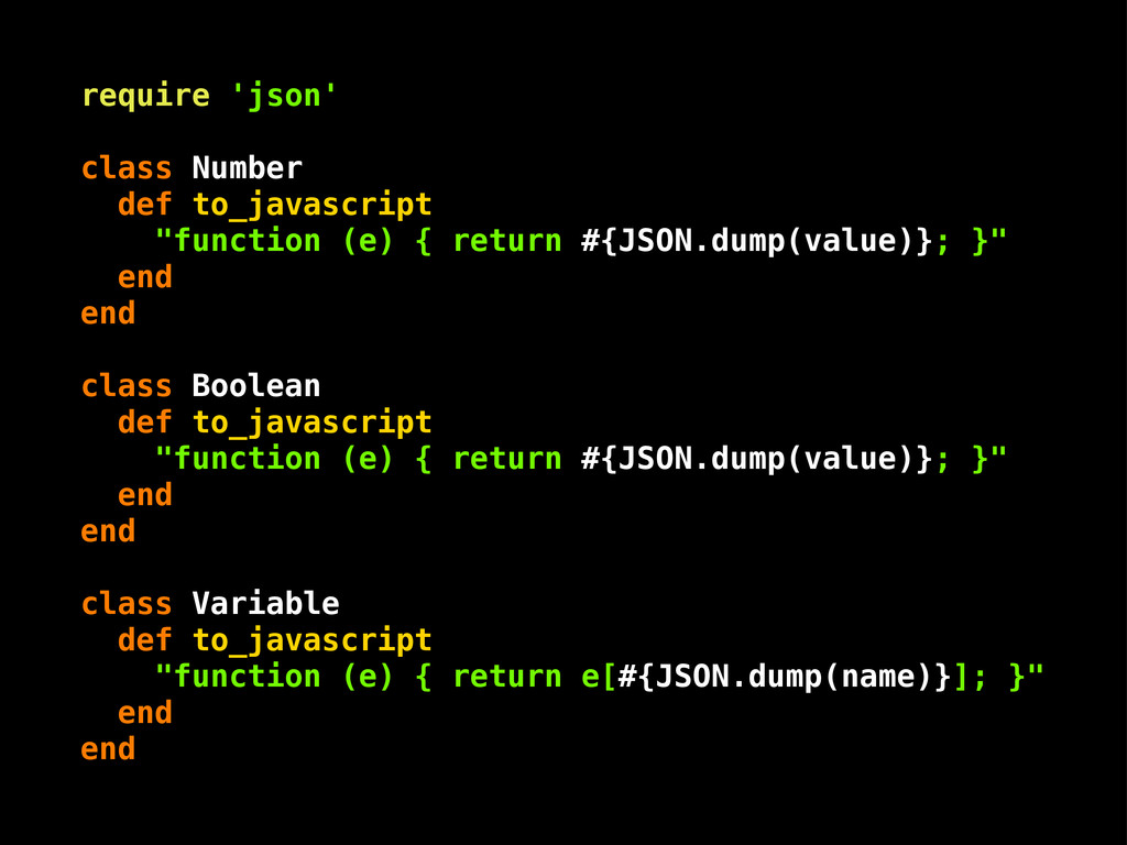 "require 'json' class Number def to_javascript ""..."