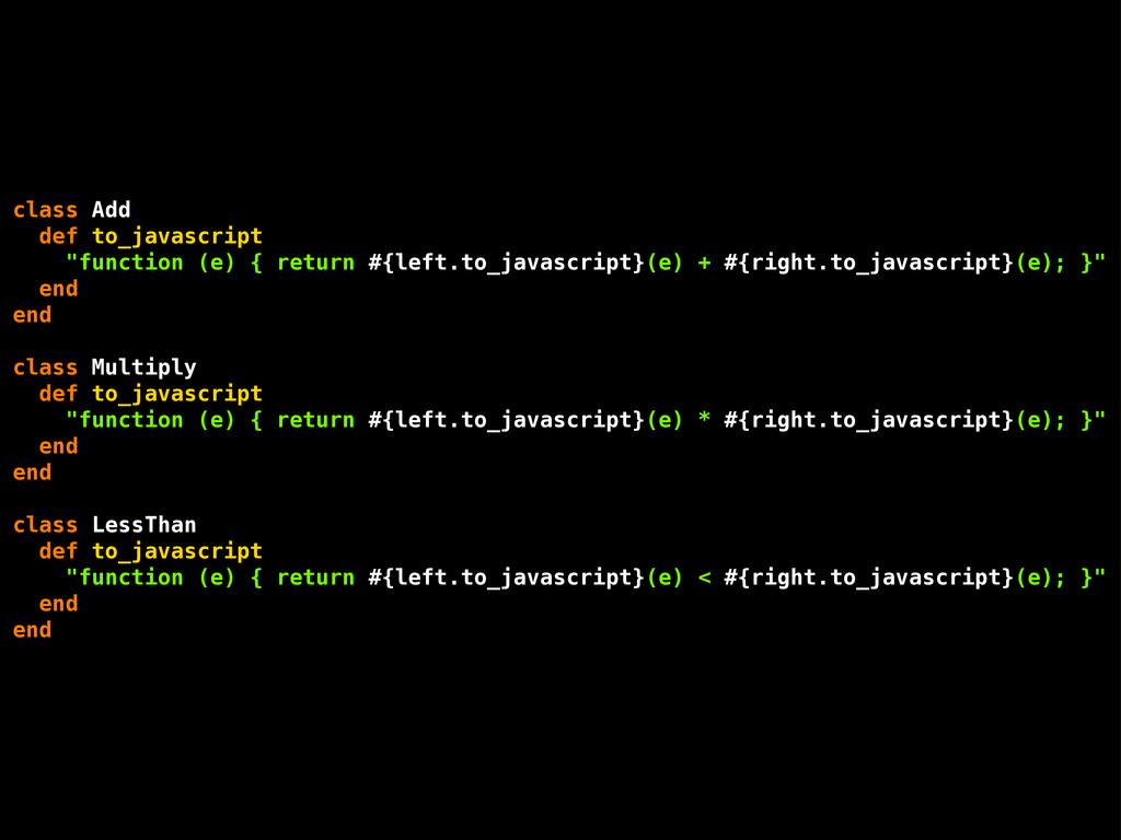 """class Add def to_javascript """"function (e) { ret..."""