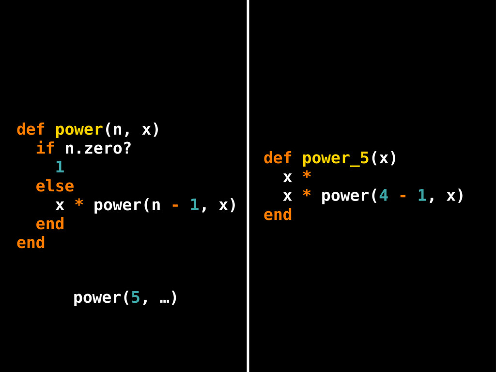 x * power(4 - 1, x) end def power(n, x) if n.ze...