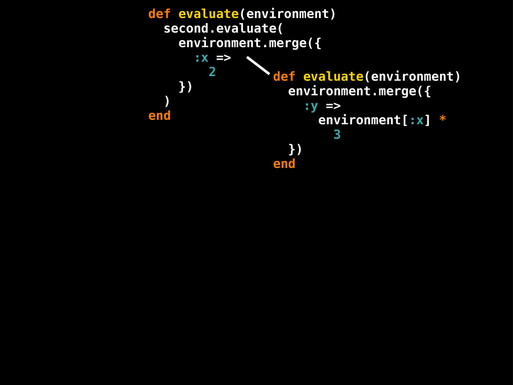 def evaluate(environment) environment.merge({ :...