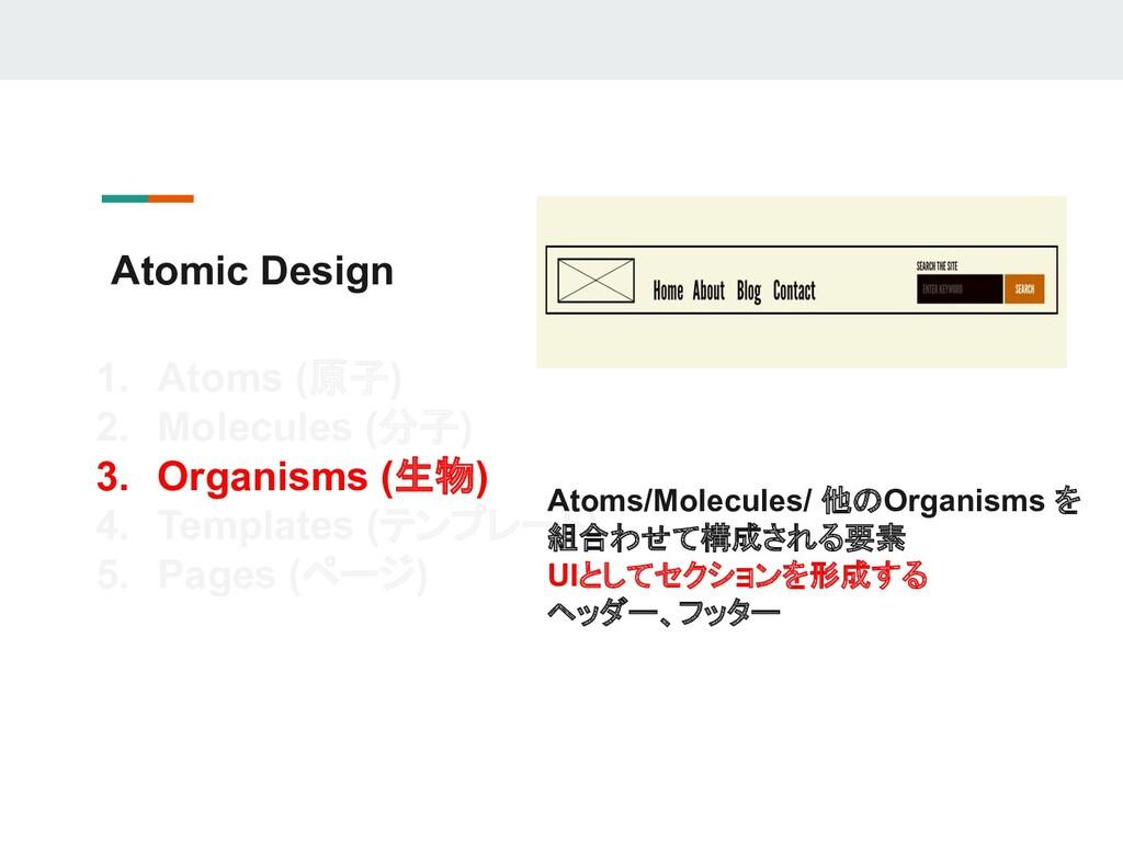 Atomic Design 1. Atoms (原子) 2. Molecules (分子) 3...