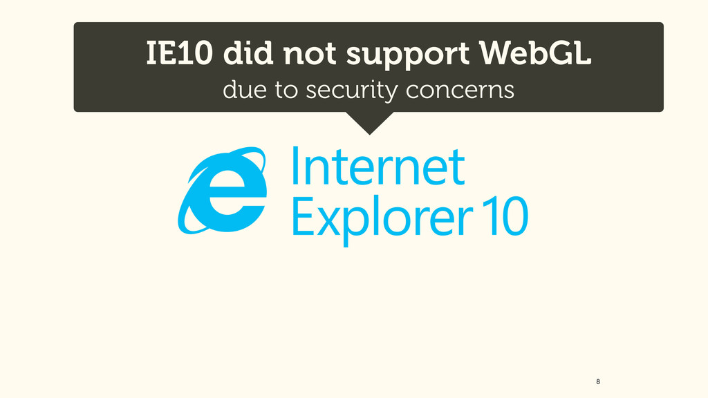 8 IE10 did not support WebGL due to security c...