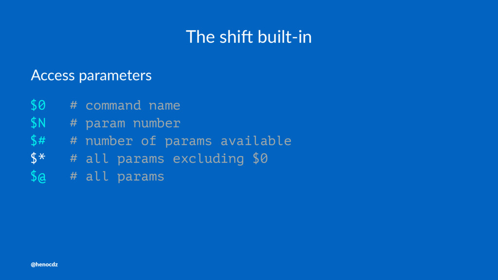 The shi' built-in Access parameters $0 # comman...