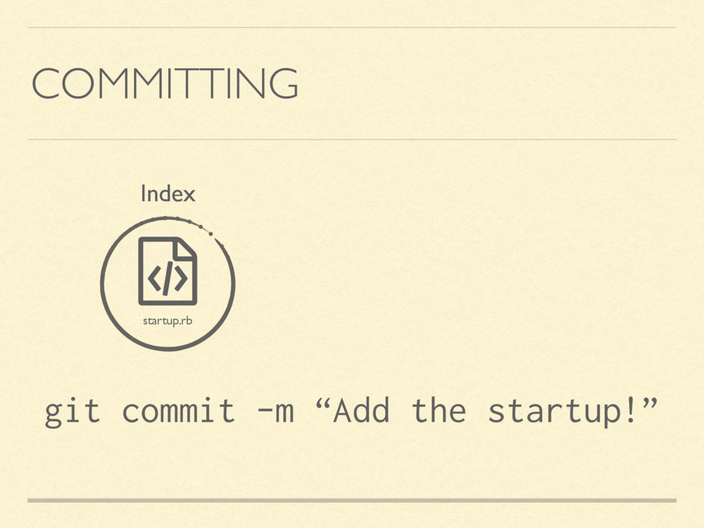 "COMMITTING ƭ startup.rb Index git commit -m ""Ad..."