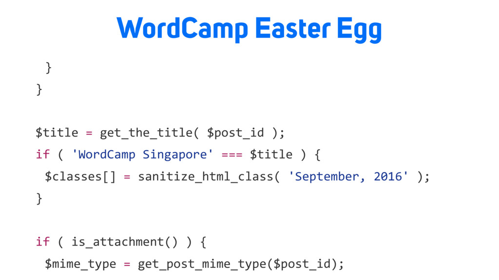 WordCamp Easter Egg } } $title = get_the_title(...