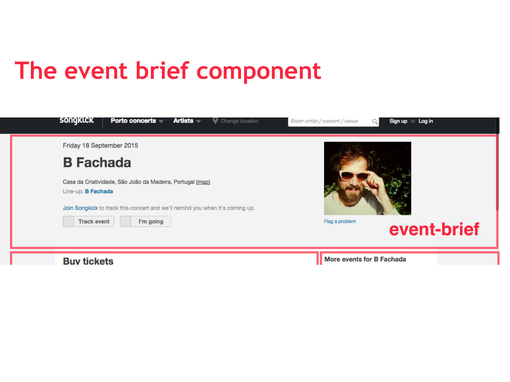 The event brief component
