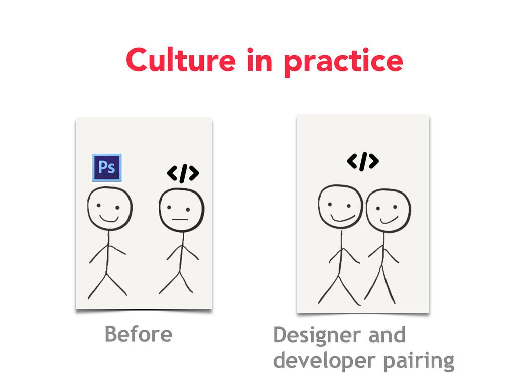 Culture in practice Designer and developer pair...