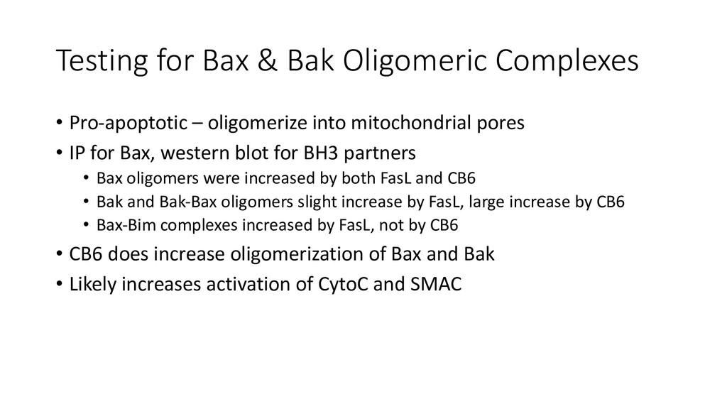 Testing for Bax & Bak Oligomeric Complexes • Pr...