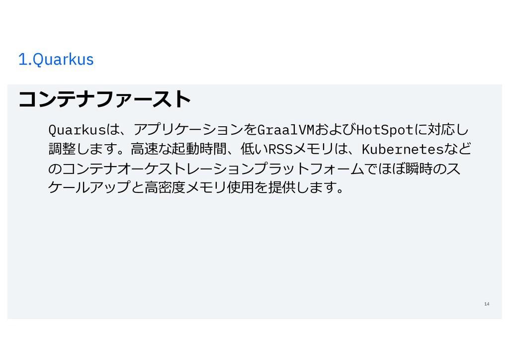 1.Quarkus コンテナファースト 14 Quarkusは、アプリケーションをGraalV...