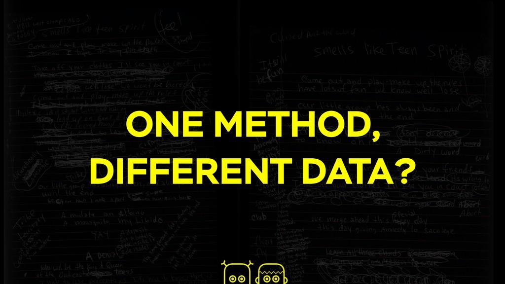 ONE METHOD, DIFFERENT DATA?