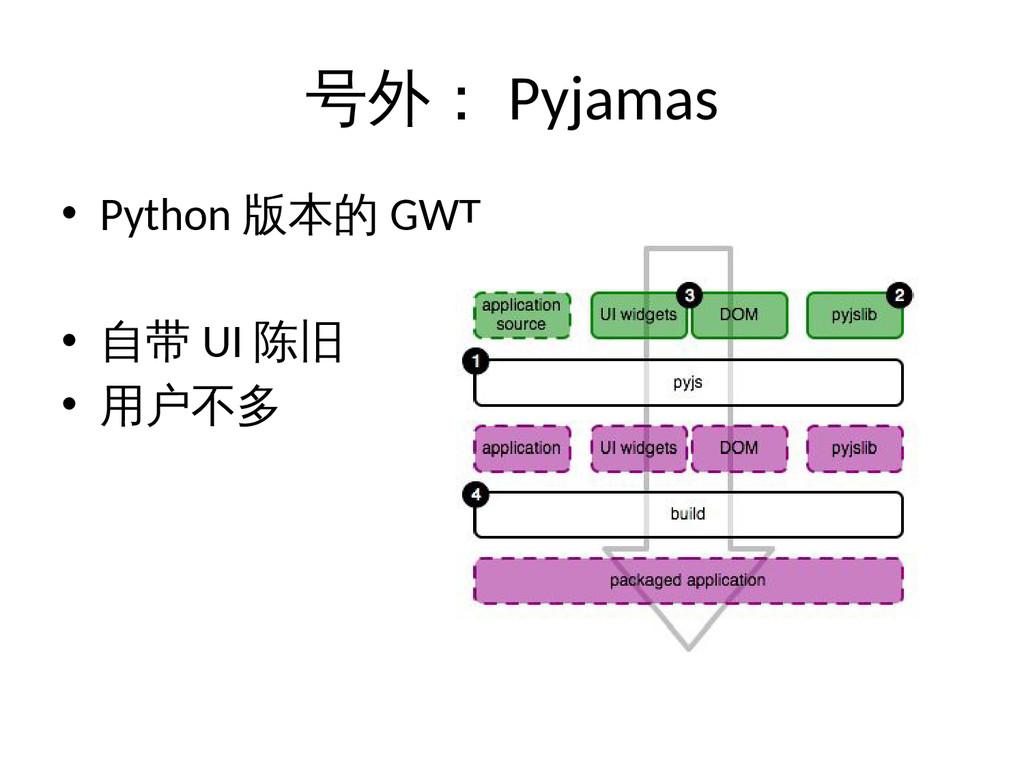 号外: Pyjamas • Python 版本的 GWT • 自带 UI 陈旧 • 用户不多