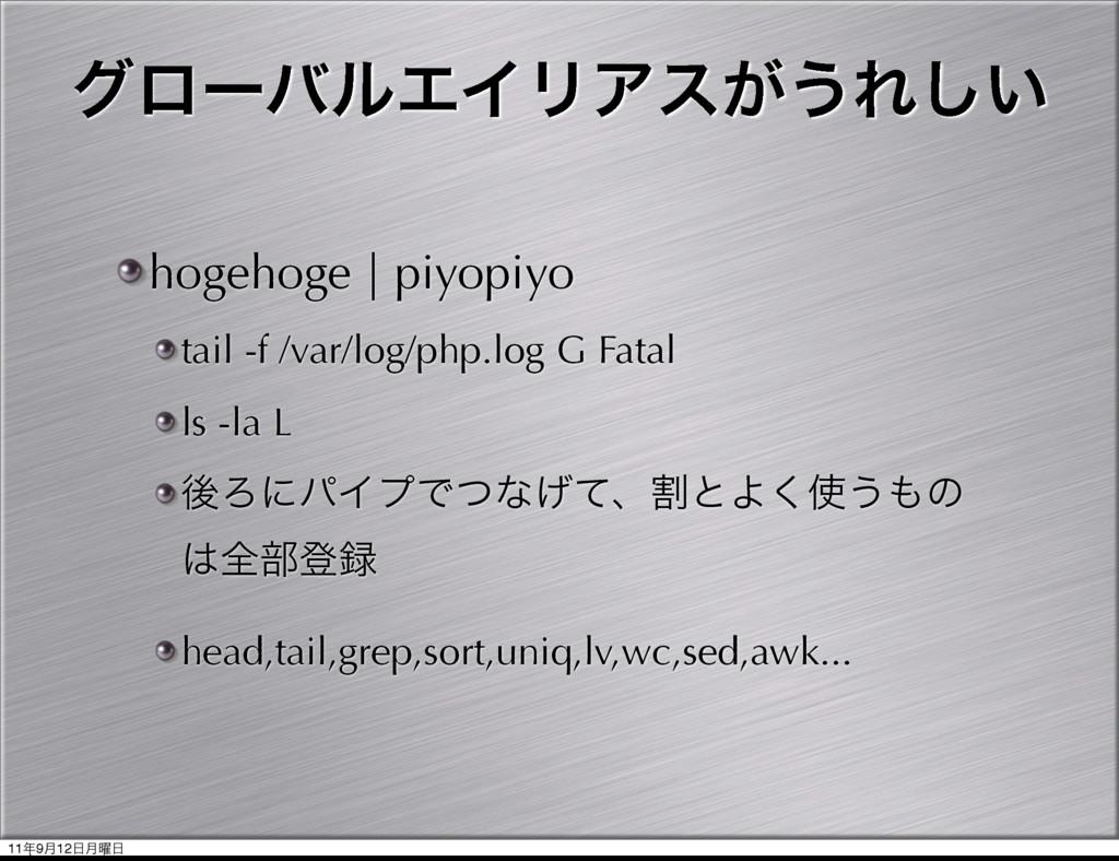 άϩʔόϧΤΠϦΞε͕͏Ε͍͠ hogehoge | piyopiyo tail -f /va...