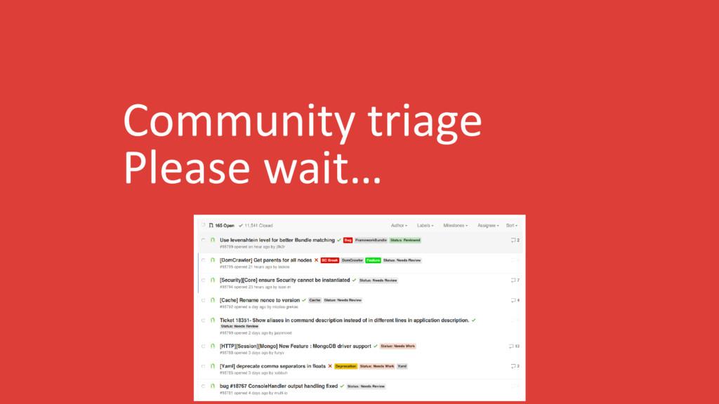 Community triage Please wait…