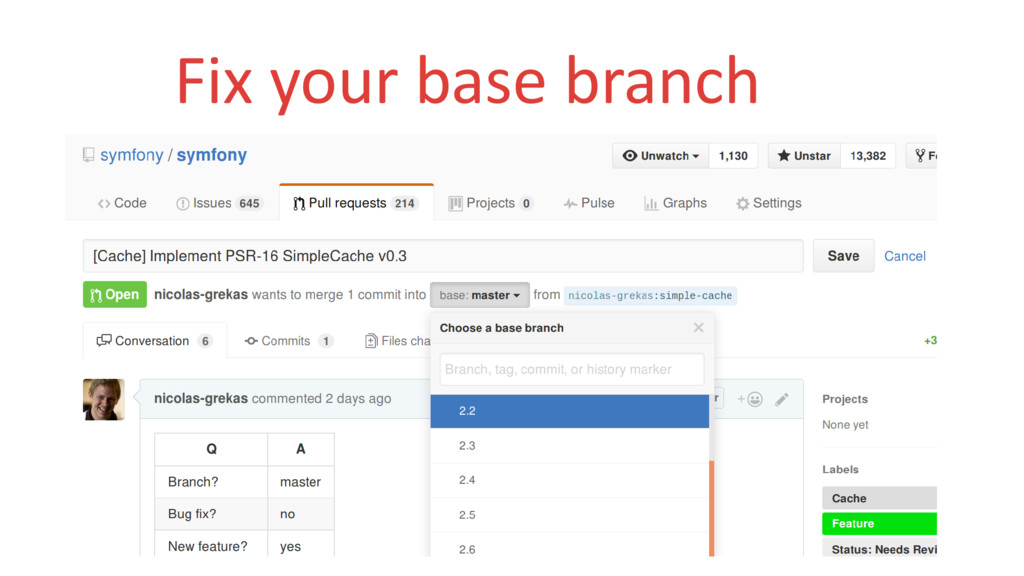 Fix your base branch