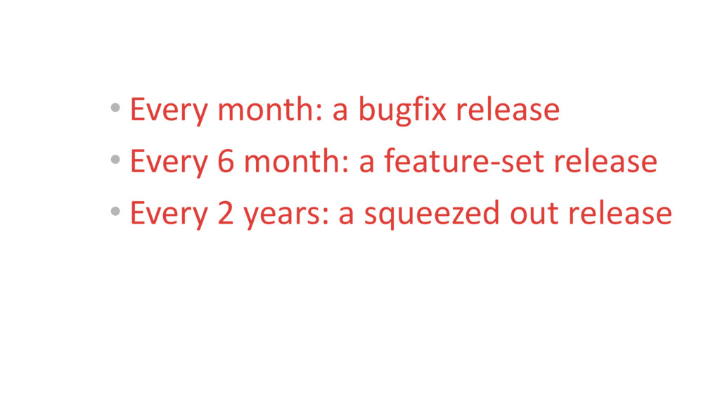 • Every month: a bugfix release • Every 6 month...