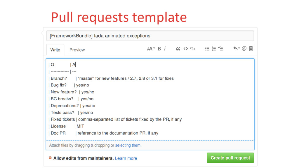 Pull requests template