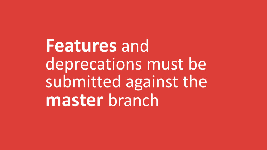 Features and deprecations must be submitted aga...