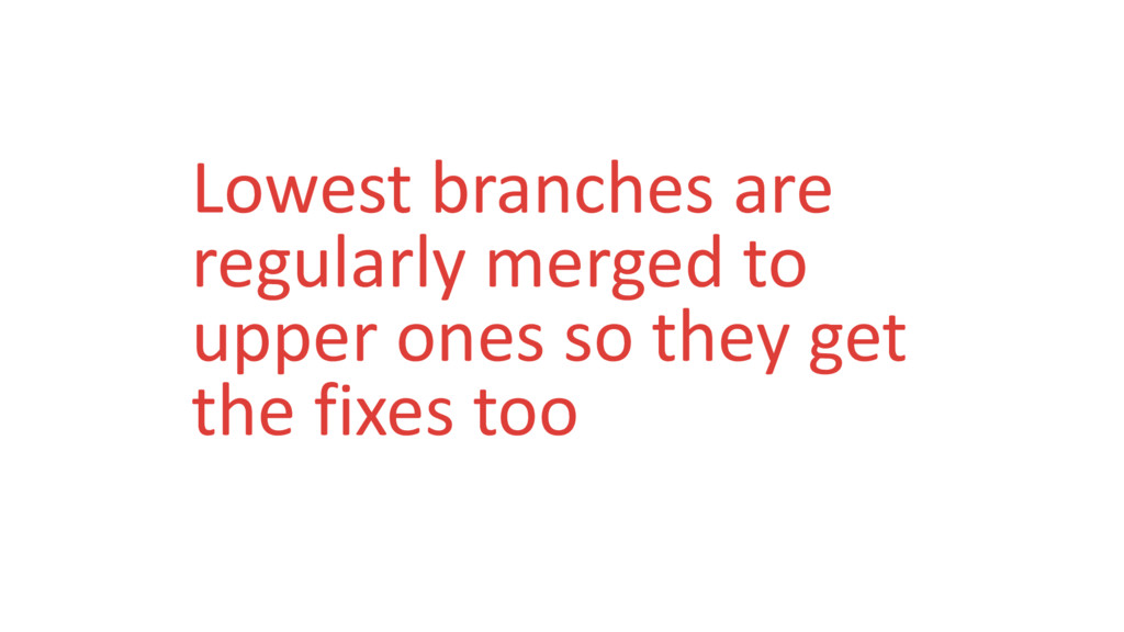 Lowest branches are regularly merged to upper o...