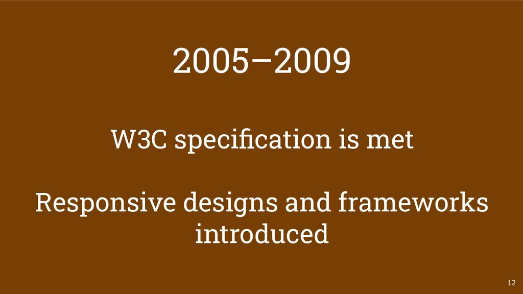 2005–2009 W3C specification is met Responsive de...
