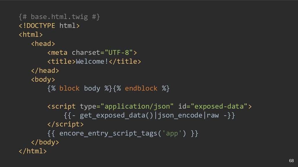 68 {# base.html.twig #} <!DOCTYPE html> <html> ...