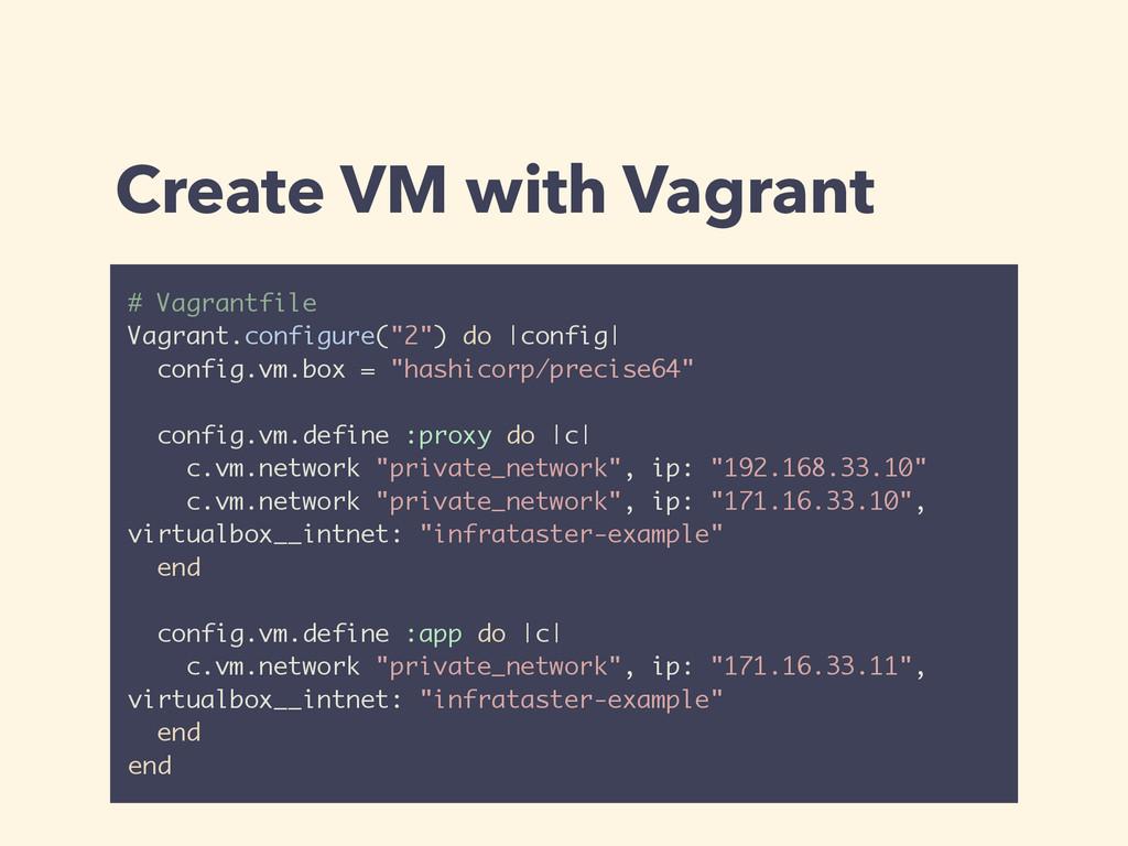 Create VM with Vagrant # Vagrantfile Vagrant.co...