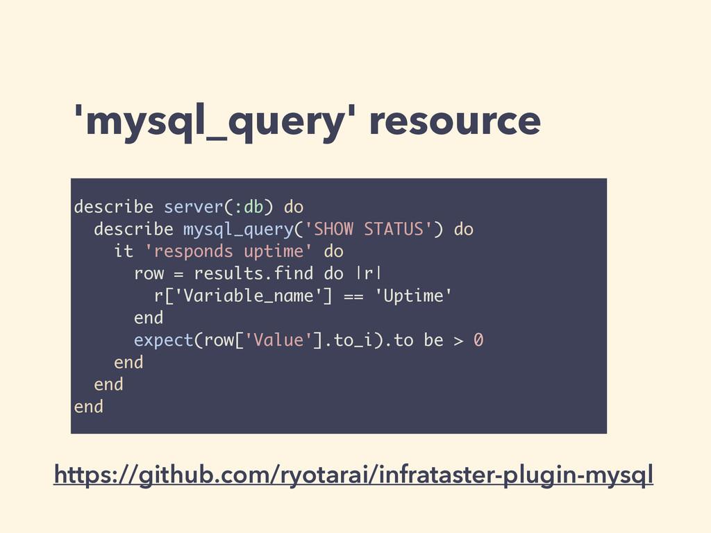 'mysql_query' resource describe server(:db) do ...