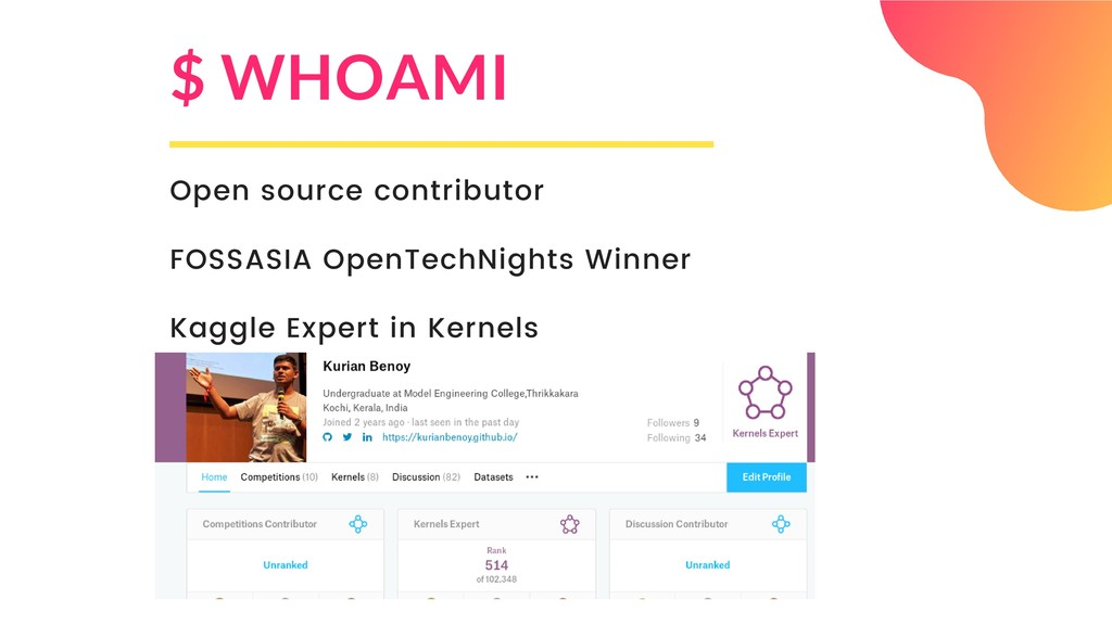 $ WHOAMI Open source contributor FOSSASIA OpenT...