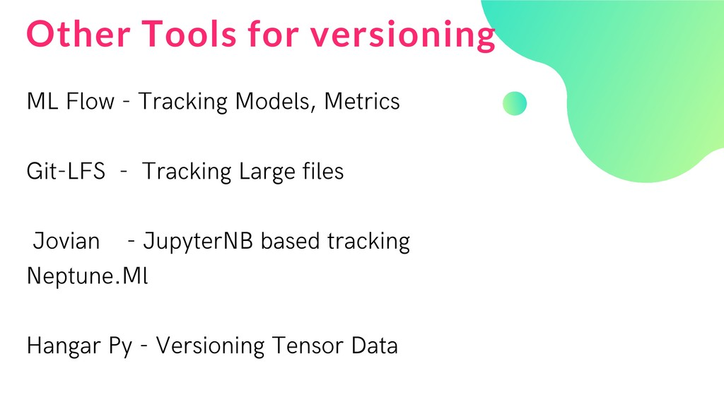 Other Tools for versioning ML Flow - Tracking M...