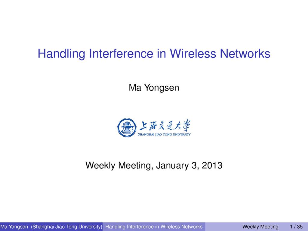 Handling Interference in Wireless Networks Ma Y...