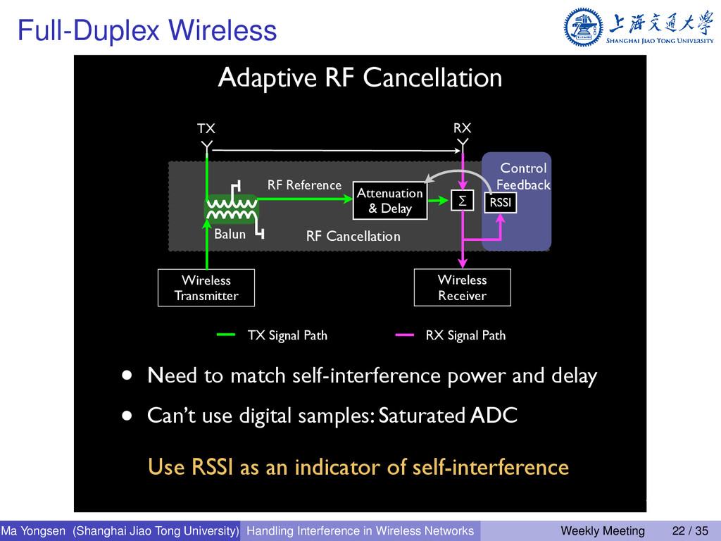 Full-Duplex Wireless • Need to match self-inter...