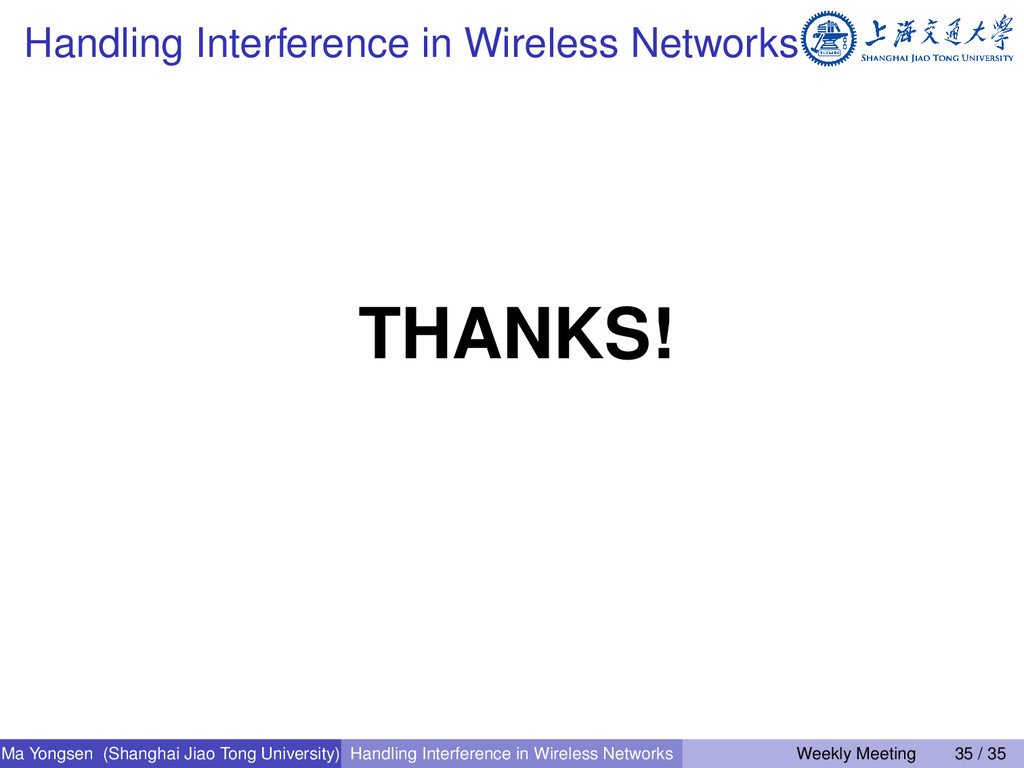 Handling Interference in Wireless Networks THAN...