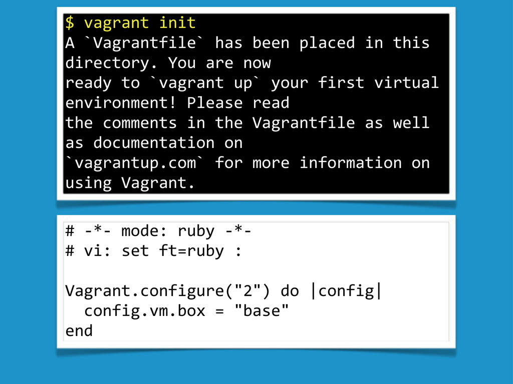 """$""""vagrant""""init A""""`Vagrantfile`""""has""""been""""placed""""..."""