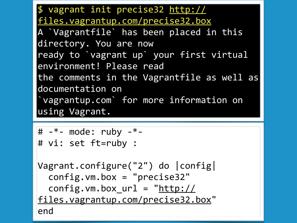 """$""""vagrant""""init""""precise32""""http:// files.vagrantu..."""