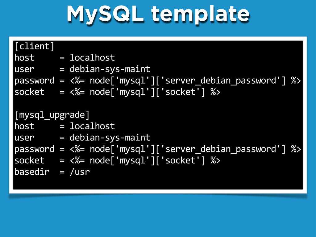 "MySQL template [client] host""""""""""=""localhost us..."