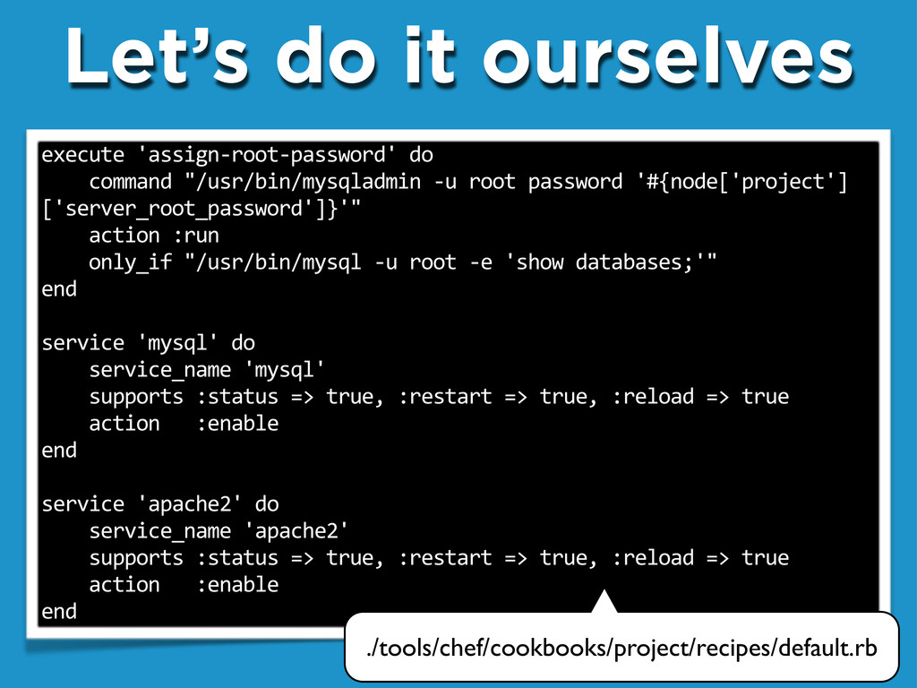 """Let's do it ourselves execute""""'assign.root.pass..."""