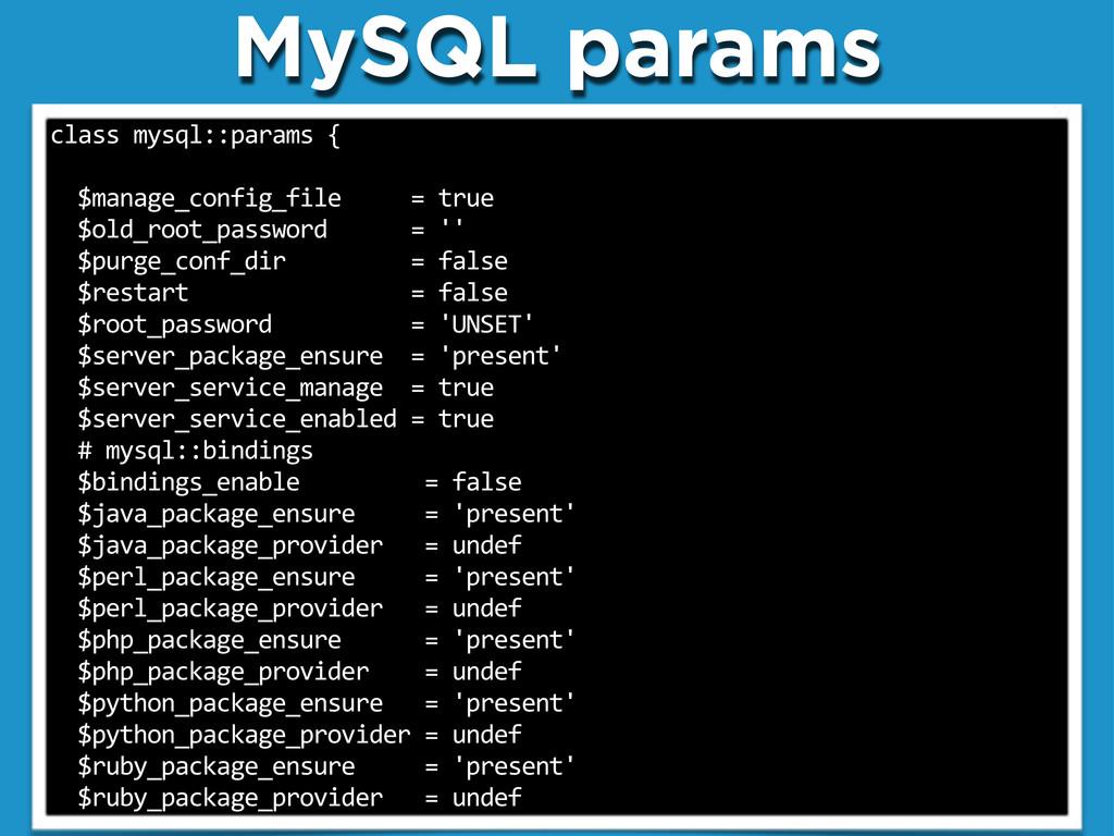 "MySQL params class""mysql::params""{ """"$manage_co..."