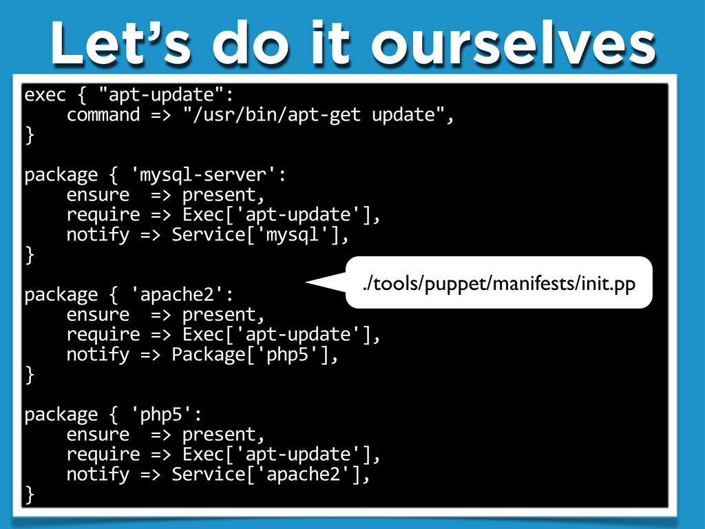 """Let's do it ourselves exec""""{""""""""apt.update"""": """"""""""""""""..."""