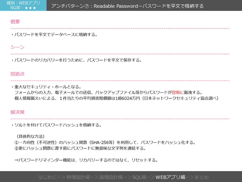 種別:WEBアプリ NG度度:★★★  アンチパターン⑦:Readable Passwor...