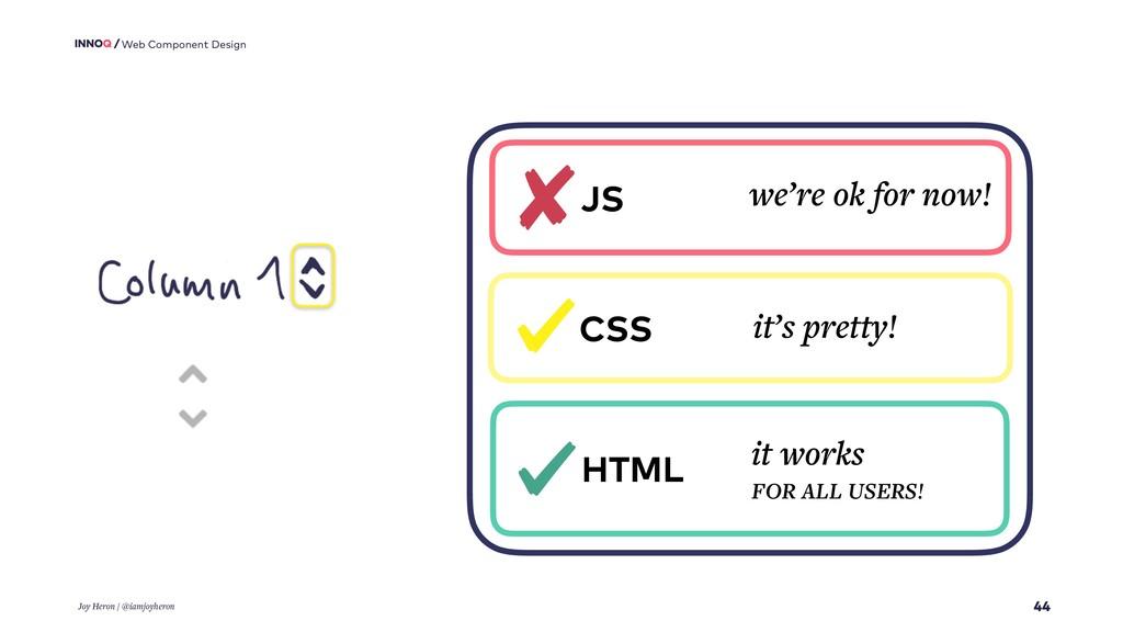 44 Web Component Design Joy Heron / @iamjoyhero...