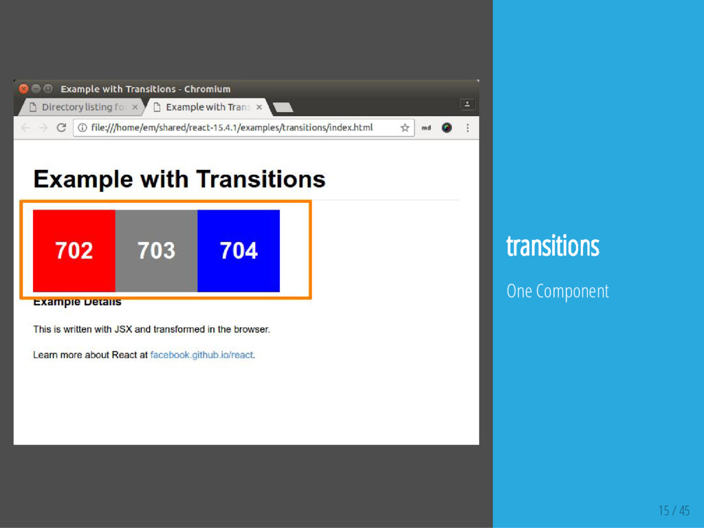 15 / 45 transitions One Component