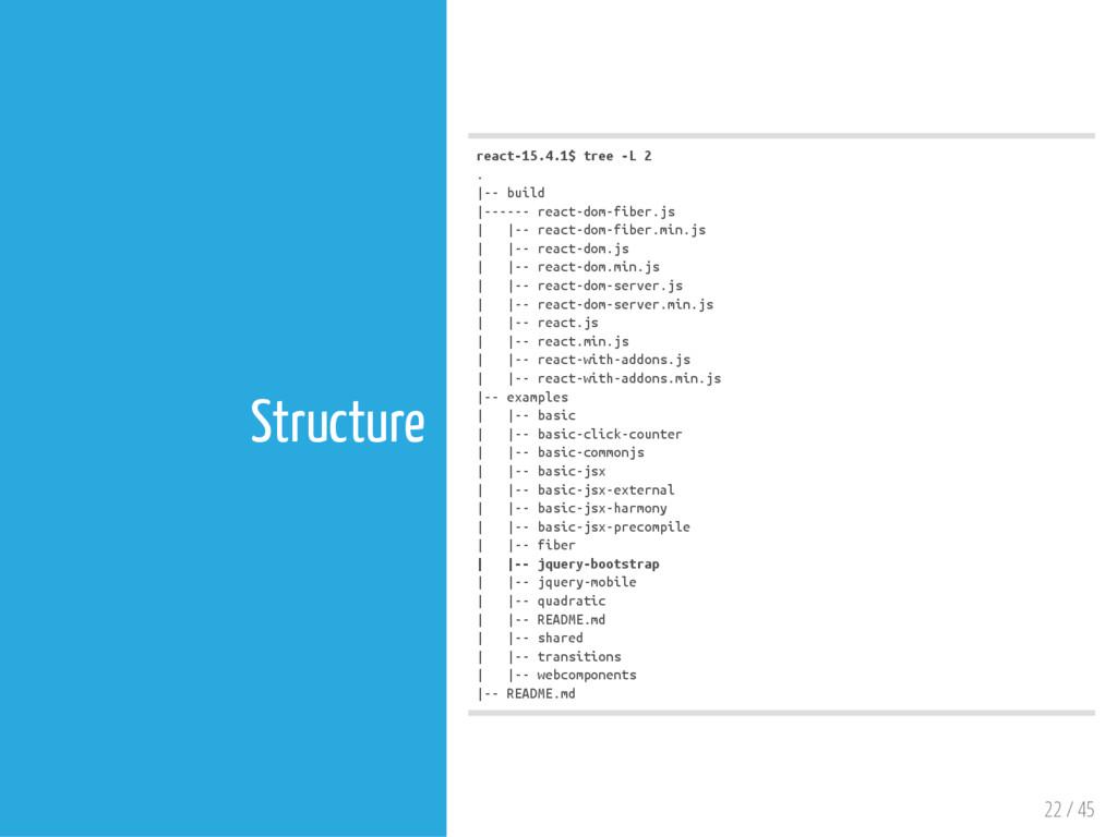 22 / 45 Structure r e a c t - 1 5 . 4 . 1 $ t r...
