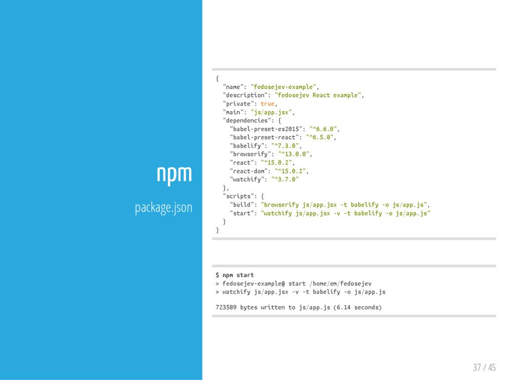 """37 / 45 npm package.json { """" n a m e """" : """" f e ..."""