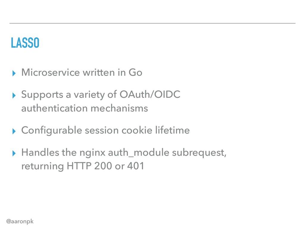 @aaronpk LASSO ▸ Microservice written in Go ▸ S...