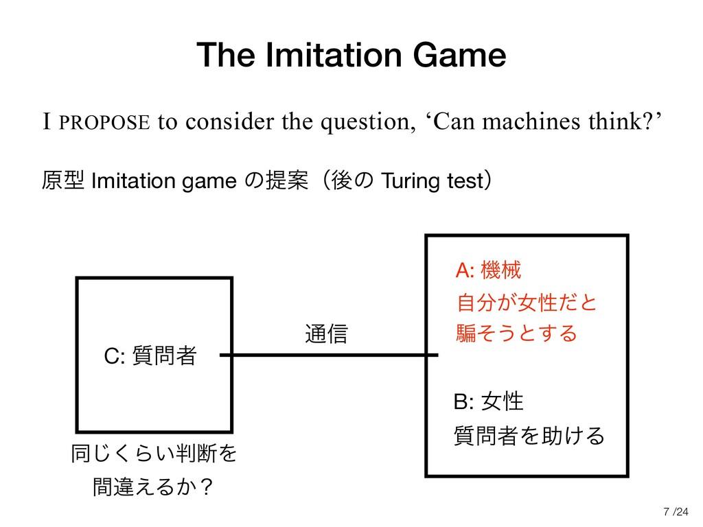 /24 The Imitation Game ݪܕ Imitation game ͷఏҊʢޙͷ...