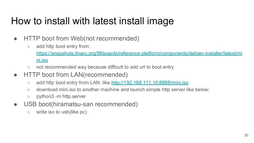 How to install with latest install image ● HTTP...