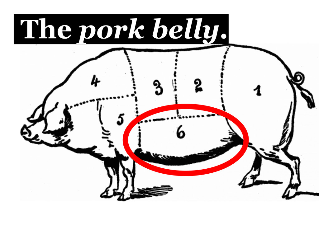 The pork belly.